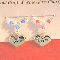 His & Hers Wine Glass Charms, Engagement Gifts, Wine Glass Charms, Anniversary