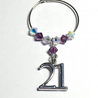 21st Wine Glass Charm - Amethyst - February Birthstone
