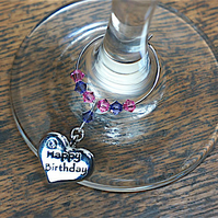 Happy Birthday Wine Glass Charm, Birthday Gifts, Gifts for Her, Gifts for Him