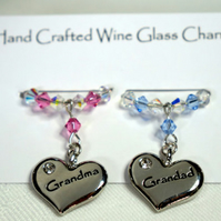 Grandma & Grandad Wine Glass Charms - Anniversary Gifts - Wine Glass Charms -