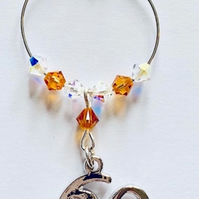60th Wine Glass Charm - Topaz - November Birthstone