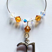21st Wine Glass Charm - Topaz - November Birthstone