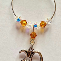 30th Wine Glass Charm - Topaz - November Birthstone - Birthday Gift Ideas