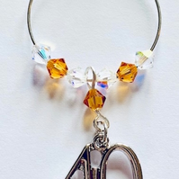 40th Wine Glass Charm - Topaz - November Birthstone