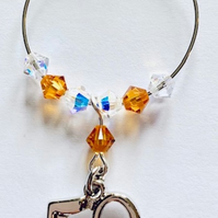 50th Wine Glass Charm - Topaz - November Birthstone