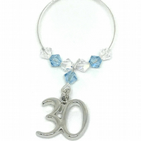 30th Wine Glass Charm - Aquamarine - March Birthstone - Birthday Gift Ideas