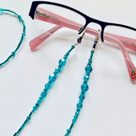 Eye Glasses Chain – Blue Zircon – December Birthstone – Mothers Day