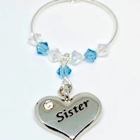 Sister Wine Glass Charm -Aquamarine - March Birthstone