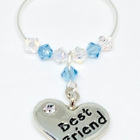 Best Friend  Wine Glass Charm -Aquamarine - March Birthstone