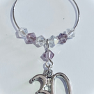 30th Wine Glass Charm - Light Amethyst - June Birthstone Colour