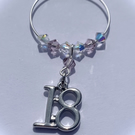 18th Wine Glass Charm - Light Amethyst - June Birthstone Colour