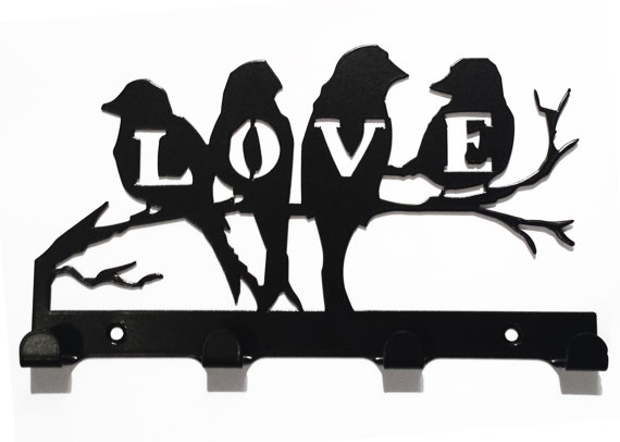 Love Birds on Branch Silhouette Key Hook Rack - metal wall art