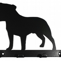 Staffordshire Bull Terrier (Staffie) Silhouette Key Hook Rack - metal wall art