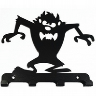 Taz-Style Tasmanian Devil Silhouette Key Hook Rack - metal wall art