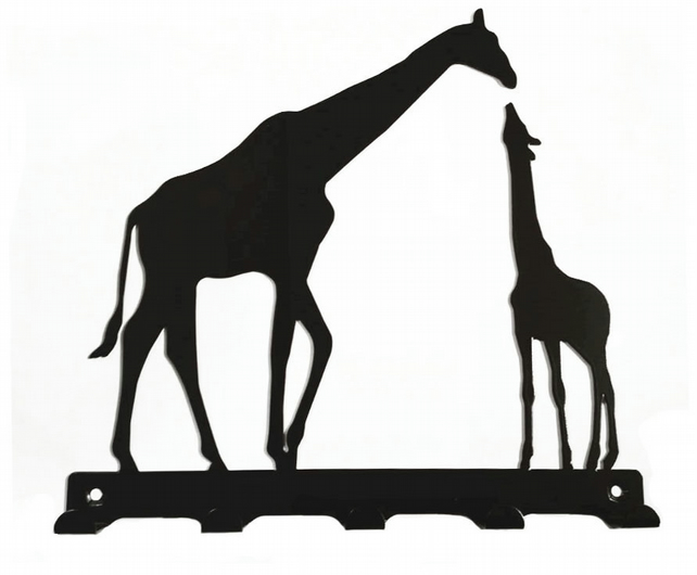 Mother and baby giraffe silhouette key hook rac folksy