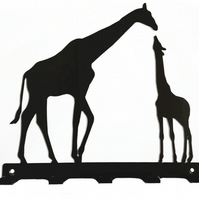 Mother and Baby Giraffe Silhouette Key Hook Rack - metal wall art