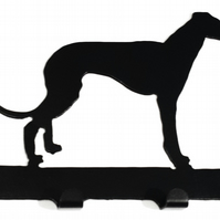 Whippet Silhouette Key Hook Rack - metal wall art
