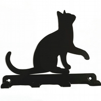 Cat Lifting its Paw Silhouette Key Hook Rack - metal wall art