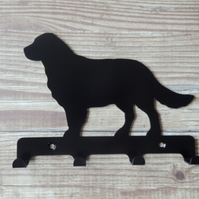 Golden Retriever Silhouette Key Hook Rack - metal wall art