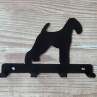 Airedale Terrier Silhouette Key Hook Rack - metal wall art