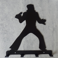 Elvis Singing into Microphone Silhouette Key Hook Rack - metal wall art