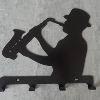 Jazz Man Playing the Saxophone Silhouette Key Hook Rack - metal wall art