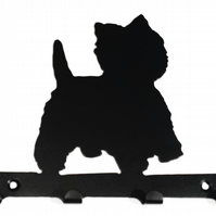 Westie (West Highland Terrier) Silhouette Key Hook Rack - metal wall art