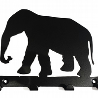 Elephant Silhouette Key Hook Rack - metal wall art
