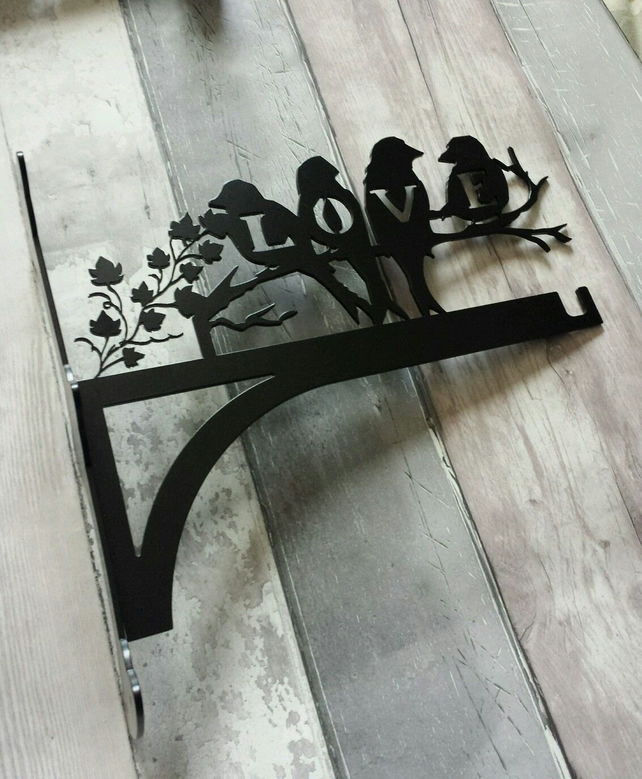 Love Birds Sitting on Branch Heavy Duty Hanging Basket Bracket