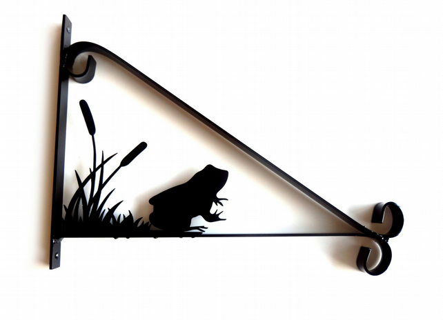 Toad Frog in Reeds Silhouette Scroll Style Hanging Basket Bracket Solid Steel