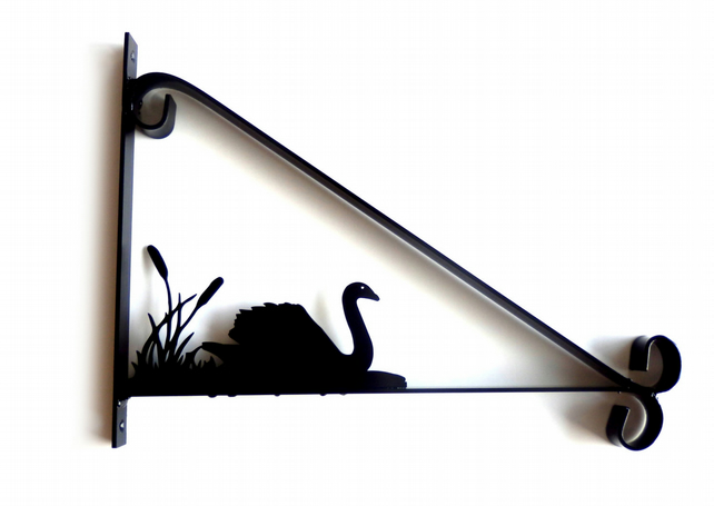 Swan and Reeds Silhouette Scroll Style Hanging Basket Bracket Solid Steel