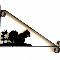 Squirrel with Butterfly Silhouette Scroll Style Hanging Basket Bracket Solid Ste