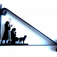 Shepherd, Woman & Lamb Silhouette Scroll Style Hanging Basket Bracket