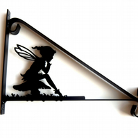 Pixie Elf Girl Sat on Toadstool Silhouette Scroll Style Hanging Basket Bracket