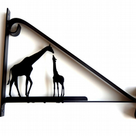 Mother and Baby Giraffe Silhouette Scroll Style Hanging Basket Bracket
