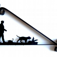 Man Walking His Dog Silhouette Scroll Style Hanging Basket Bracket Solid Steel
