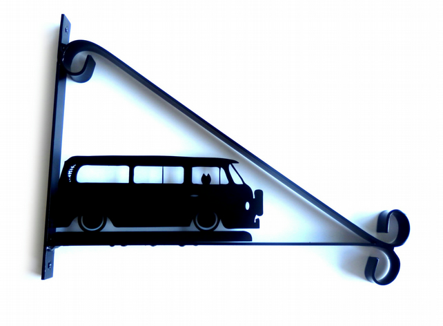 VW Campervan with Dog Silhouette Scroll Style Hanging Basket Bracket Solid Steel