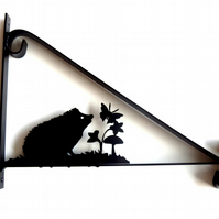 Hedgehog with Butterfly & Plants Silhouette Scroll Style Hanging Basket Bracket