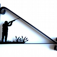 Gunman Aiming into the Air Silhouette Scroll Style Hanging Basket Bracket