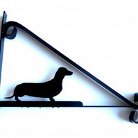 Dachshund (Sausage Dog) Silhouette Scroll Style Hanging Basket Bracket