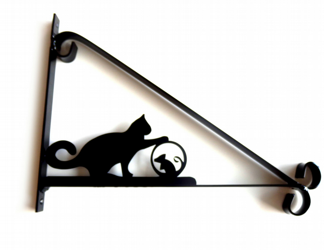 Cat Playing with Mouse Ball Silhouette Scroll Style Hanging Basket Bracket