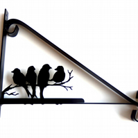 Birds Sat on a Branch Silhouette Scroll Style Hanging Basket Bracket Solid Steel