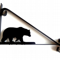 Bear Silhouette Scroll Style Hanging Basket Bracket Solid Steel