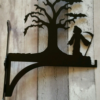 Grim Reaper Stood by Tree Full of Bats Heavy Duty Hanging Basket Bracket