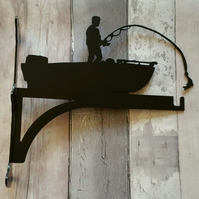 Man Catching Fish Stood in Boat Heavy Duty Hanging Basket Bracket