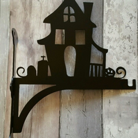 Haunted House with Graveyard and Pumpkin Heavy Duty Hanging Basket Bracket