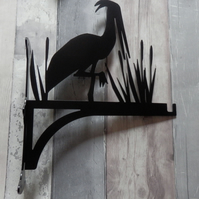 Stork Bird Stood in Reeds Heavy Duty Hanging Basket Bracket