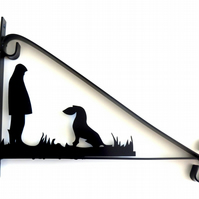 Man with His Dog Silhouette Scroll Style Hanging Basket Bracket Solid Steel