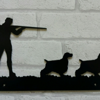 Gunman and Spaniel Dogs Wall Plaque - Heavy Duty Laser Cut Solid Steel - Hunting