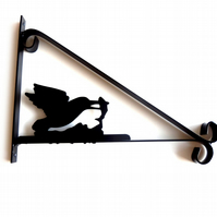 Kingfisher Catching a Fish Silhouette Scroll Style Hanging Basket Bracket